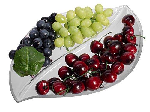 Unzerbrechlich Leaf Serviertablett, klar Kunststoff Party Aperitif Teller mit 2fach -