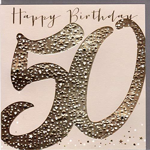 Belly Button Designs hochwertige Glückwunschkarte zum runden 50. Geburtstag aus der Paloma-Serie mit Prägung, Folie und Kristallen BB470