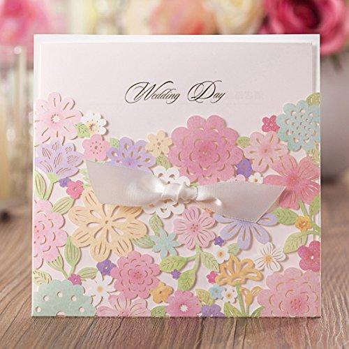 Einladungskarten Hochzeit Wishmade Bunte Blumen Lasercut Design Set 20 Stücke inkl Umschläge