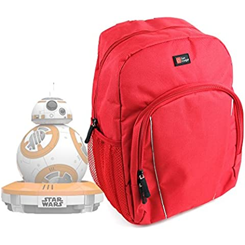 DURAGADGET Mochila Roja Para Drone BB-8 Star Wars + Funda Impermeable - Con Asas Regulables
