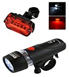 #6: AlexVyan Power beam - Black Bicycle Safety Warning Light Set, Head And Tail Led Cycle Lights (5 LED Bulb each in Head/Tail Light)