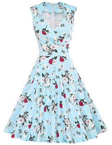 MUXXN Damen Retro 1950er V-Ausschnitt Brautjungfer Party Swing Kleid(XL, Blue (Kostüm 1940 Swing)