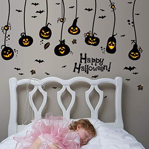 Yimosecoxiang Schöne und lustige Fisher Price Happy Halloween Kürbis Fledermäuse Spider DIY Wandtattoo PVC Aufkleber Kids Room Decor Multi