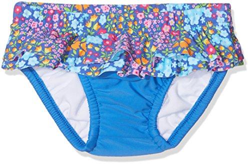 DIMO-TEX Sun Baby-Mädchen Schwimmwindel Windelbadehose UV-Schutz 50, Mehrfarbig (Blau, AOP Blumen), 80 (Herstellergröße: 74/80)