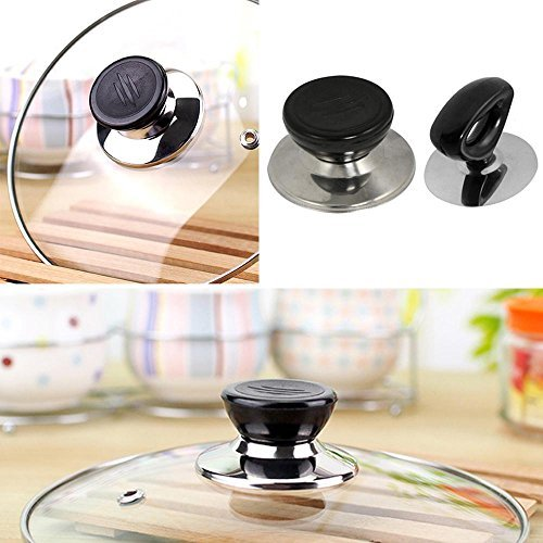 niceEshop(TM) Pack of 2, Pot Lid Cover Knob Handle Universal Kitchen Replacement Cookware Lid Holder,Black+Sliver