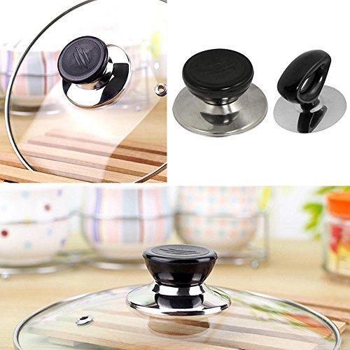 niceEshop(TM) Pack of 2, Pot Lid Cover Knob Handle Universal Kitchen Replacement Cookware Lid Holder,Black+Sliver