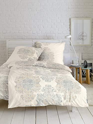 Bettwäsche Zeitgeist 6616 in Normalgröße / flauschig warme Biberbettwäsche / 100% Baumwolle / weiß blau / Ornament / 2 teiliges Set aus Deckenbezug 135x200cm und Kissenhülle 80x80cm / Reißverschluss