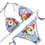 SUCES Damen Brazilian Geblümte Triange mit Träger Push-Up Swimsuit zwei Stücke Netz Gepolstert Bikini Set Zweiteilige Strandkleidung Bandeau Strandmode Blumen Druck Bikinihose (M, Blue)