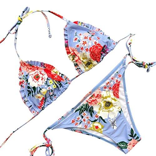 SUCES Damen Brazilian Geblümte Triange mit Träger Push-Up Swimsuit Zwei Stücke Netz Gepolstert Bikini Set Zweiteilige Strandkleidung Bandeau Strandmode Blumen Druck Bikinihose (S, Blue) -