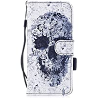 Funda Samsung Galaxy S8, Ecoway Pintado Cuero de la PU Leather Cubierta, Función de Soporte Billetera con Tapa para Tarjetas Soporte para Teléfono para Samsung Galaxy S8- Cabeza de calavera