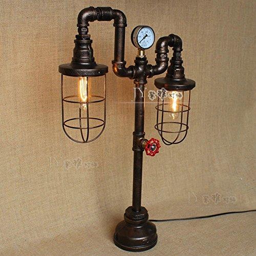 Pumpink Amerikanische Retro- industrielle Wasser-Rohr-Tabellen-Licht-Schreibtisch-Lampe kennzeichnet Weinlese-Ventil-Dekoration-Tischplattenlicht Kreative Manometer-Eisen-Käfig-Leselampe für Schlafzimmer-Studie-Pub-Bar-Mode-Speicher