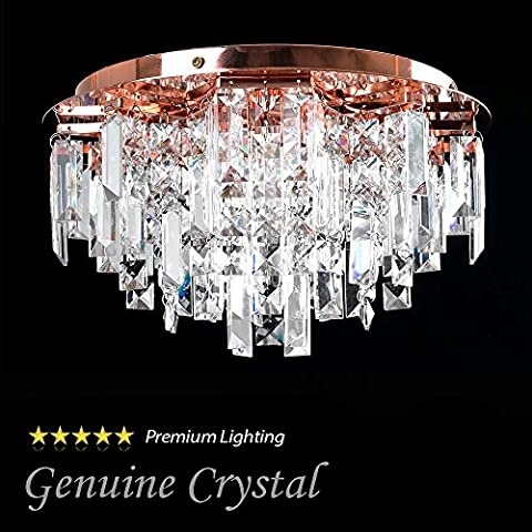 Modern Copper 5 Way Lead Crystal Jewel Diamond Effect Droplet Flush Ceiling Chandelier Fitting