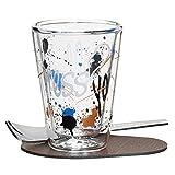 RITZENHOFF 3330005 A Cuppa Day Espressoglas, schwarz/braun / weiß/blau, 5.7 x 5.7 x 7.7 cm