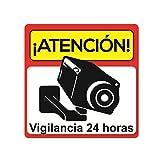 Pegatina disuasoria atención vigilancia 24 horas alarma conectada  Vinilo decorativo  Apto uso exterior  Cartel camara vigilancia-seguridad Disuasorio