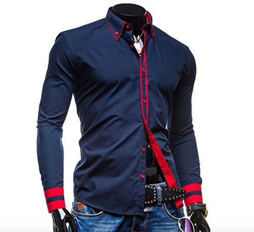 Herren langarm kontrastreiche modische Freizeit Hemden Dunkelblau