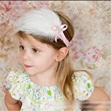 Süß Baby Kind Säugling Feder Diamant Blumen Stirnband Haarband Haarschmuck Weiß