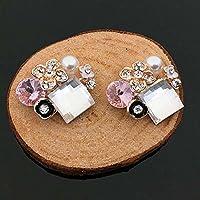 Tangpan 10pcs Bottoni Retro Piatto in strass fiori matrimonio decorazioni artigianali 097B Pink