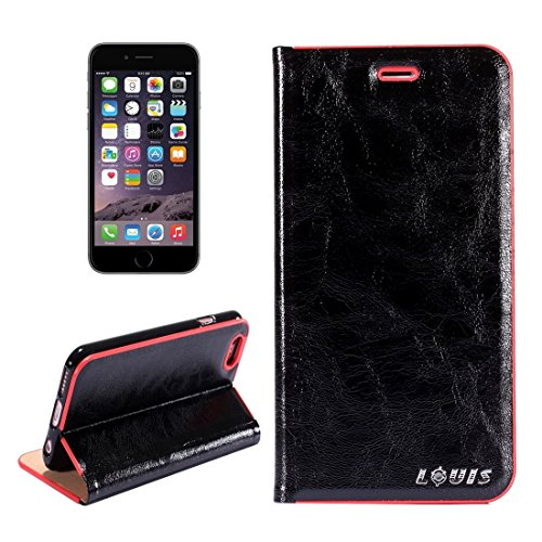 Wkae Crystal Texture PC Full Coverage Horizontale Flip Leder Tasche mit Halter & Card Slots für iPhone 6 & iPhone 6s ( Color : Brown ) Black