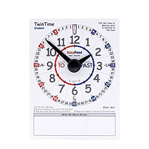 EasyRead TwinTime Student Edition, 15 x 20 cm, double-sided write-on wipe-off clock card