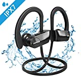 Mpow [Upgraded] D7 Bluetooth Headphones, IPX7 Waterproof Wireless Sports Earbuds with Mic, Stereo Sound 10~12H Battery Noise Cancelling Earphones for Running, Jogging, Cycling, Exercising, Workout
