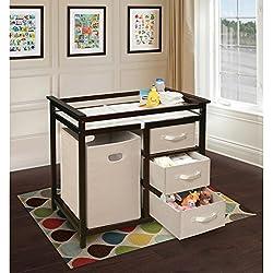perezoso Kids–Cómoda para la habitación cambiador con cajones de tela color marrón oscuro Color Blanco