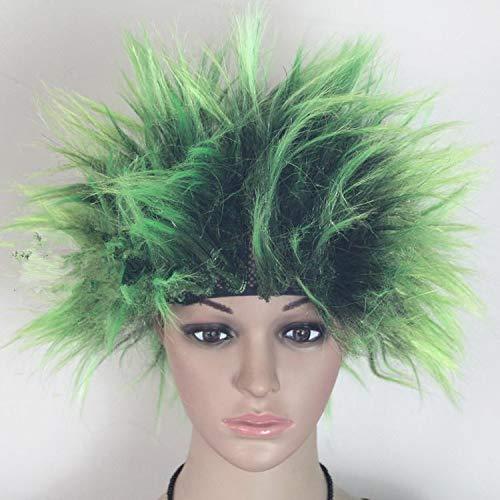 Igelperücke für Halloween, Party, Cosplay, Kostüm, Hut, Kinder, Erwachsene, explosive Kopfperücke, Bettel-Stil grün/schwarz