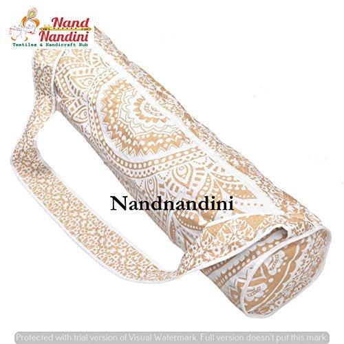 NANDNANDINI TEXTIL - Indische Hippie Mandala Gold Mandala Tapisserie Yoga Mat Tasche handgemachte Tasche, Umhängetasche, Boho böhmischen Tapisserie Sporttasche böhmischen indischen Yoga Matte Tragetas