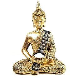 Portavelas de figura de buda de adorno en bronce dorado