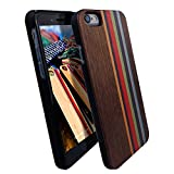 raidfox iPhone 6/6S Natürliche Holz Hard Case, umweltfreundlichen FSC Forest handgemachte natürliches Holz Cover – Hybrid Heavy Duty woodback Displayschutzfolie Frontplatte, Nature Bond, Rainbow Walnut