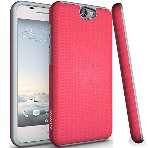 HTC One A9 Hülle, One A9 Hülle, LANOU (Slim Series) Dual Layer Silikon Combo Handyhülle Drop Resistance Case Stoßfest Schutzhülle für HTC One A9 (Rose Rot)
