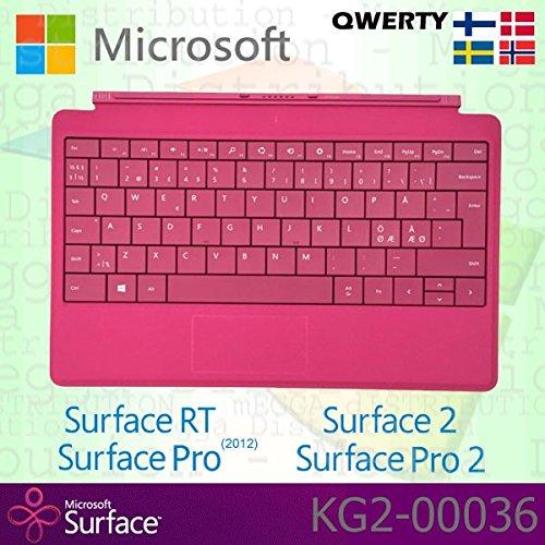 Microsoft Surface RT/Pro (2012) / 2 / Pro 2 Type Cover skandinavische QWERTY-Tastatur mit Hintergrundbeleuchtung - Magenta - OEM-Verpackung (Keine Einzelhandelsverpackung) (Mit Type Surface 2 Cover Hintergrundbeleuchtung)