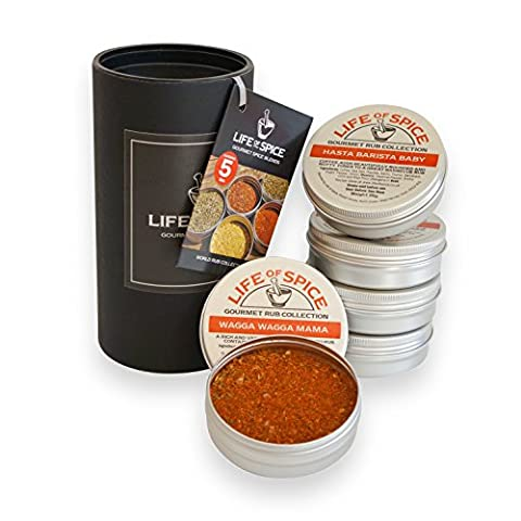 Life of Spice World Rub Collection - Gift Set of 5 Barbecue Rubs (40g/30g each) - Fifty Shades of Grey, Savannah Gold, Hasta Barista Baby, Pepper Smurf and Wagga Wagga