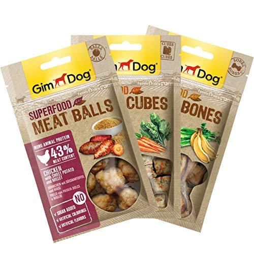 GimDog Superfood Meat Snacks Mixpack, Mono-Protein Hundesnack mit Hühnchenfleisch, Leckerlie ohne Zuckerzusatz, 1x180g Mix-Pack (1xBalls, 1xCubes, 1xBones)