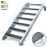 Außentreppe 7 Stufen 80 cm Laufbreite - ohne Geländer - Anstellhöhe variabel von 116 cm bis 140 cm - Gitterroststufe ST2 - feuerverzinkte Stahltreppe mit 800 mm Stufenlänge als montagefertiger Bausatz