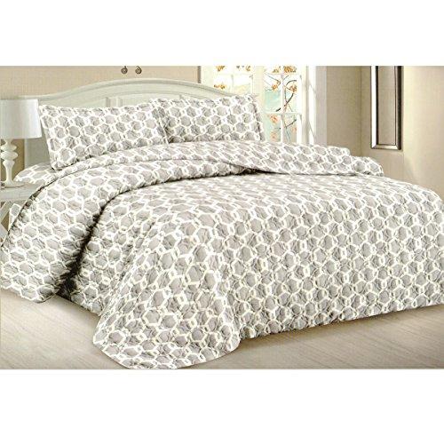 Todd Bettwäsche Queen Tagesdecke Quilt 3-teilig weich Gesteppte Betten–Luxuriöse bequem Mikrofaser Decke + 2kissenrollen (grau) (Grand Hotel Bettbezug)