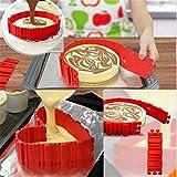 Godil–Magische, modulare Kuchenform, zusammensetzbar, kann in Herzform und andere spezifische Formen umgewandelt werden, Schlangen-Kuchenform, aus Silikon, rot (4 Stück)