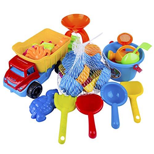 YVSoo 31 Stück Sandspielzeug Set Für den bevorstehenden Urlaub, Sand und Strandspielzeug für Junge Mädchen, Sandkasten Spielzeug, Sehr viele Teile für den Sandkasten oder Strand