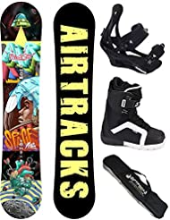 AIRTRACKS SNOWBOARD SET - TABLA SPACEMAN ROCKER 152 - FIJACIONES SAVAGE - SOFTBOOTS STAR 43 - SB BOLSA/ NUEVO