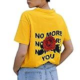 Kavitoz Damen Shirt, Frauen Bluse Casual O-Ausschnitt Kurzarm T-Shirt Lose Hemd Oberteile Tops (L, Yellow) -