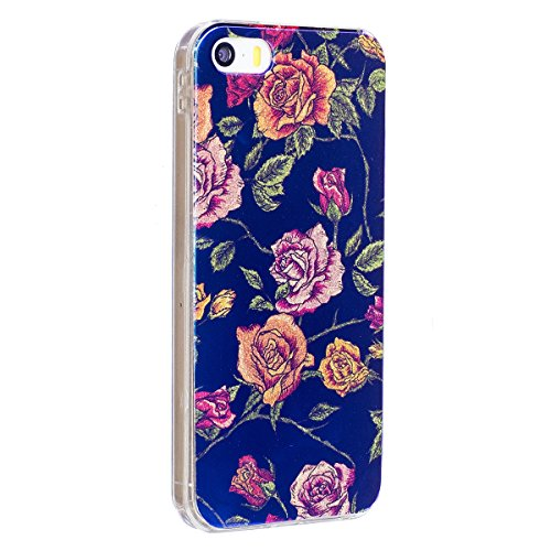iPhone 6 Custodia Silicone, iPhone 6S Cover TPU, JAWSEU Apple iPhone 6/6S 4.7 Case Caso Bella Luminoso Floreale Brillante Blu Protezione Cristallo Trasparente Custodia Cover Antiurto Ultra Sottile Lis Floreale #9