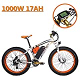 eBike_RICHBIT 022 Bicicleta eléctrica Cruiser Ciclismo 1000W 48V 17AH LG eBike,Blanco-Naranja