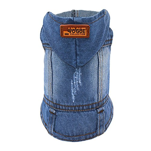 SILD Pet Clothes Dog Jeans Jacket Cool Blue Denim Coat Chrismas Gift For Small Medium Dogs Lapel Vests Classic Hoodies Puppy Blue Vintage Washed Clothes