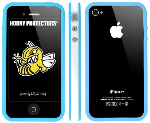 Horny Protectors Bumper für Apple iPhone 4/4S transparent/grün mit Metallbutton weiß/hellblau