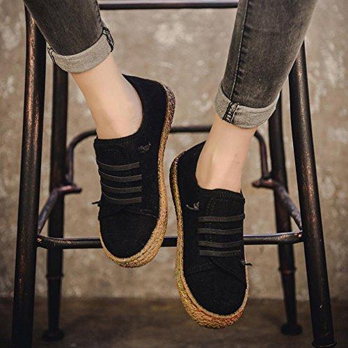 Baskets à Lacets,OverDose Femme Chaussures Plates Derby Toile Bottines Daim Suède Flat Noir