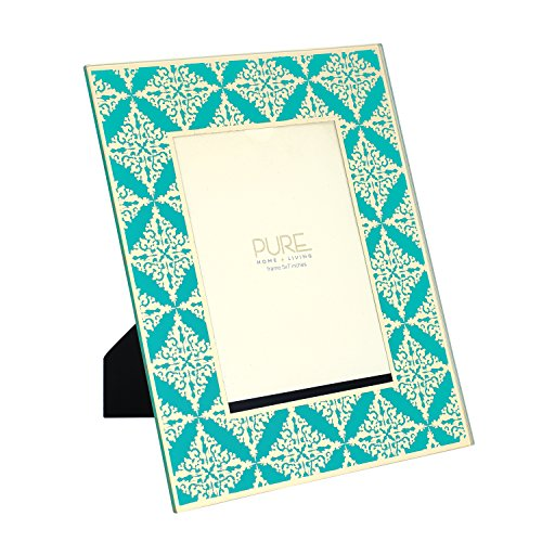 Pure Home + Living Large Aqua and Printed Mila Faux Leather and...