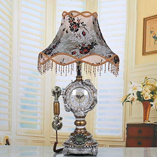 GWFVA Antique Telephone American Style Retro Schreibtischlampe | Harz Tischlampe mit Telefon und Uhr für Wohnzimmer Schlafzimmer Studie (Farbe: Bronze) American Telephone