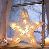 Weihnachtsbeleuchtung 3D-Stern 20 LED's warmweiß Batteriebetrieb 36 cm Ø