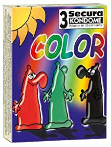 Orion 415472 Secura Color 3er Set mit Farbe und Aroma,  Farbige Kondome mit Aroma: Grün (Pfefferminz), Rot (Erdbeere), Schwarz (Schoko).