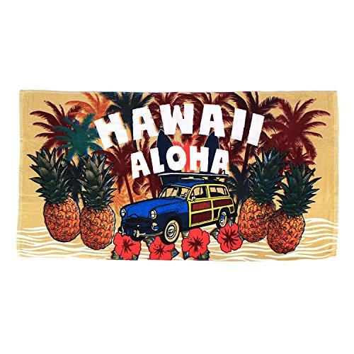 Hawaii spiaggia asciugamano 100% cotone 60x 30tropical hawaii island maps stampe, cotone, hawaii aloha pineapple and vintage car, 60 x 30 inches