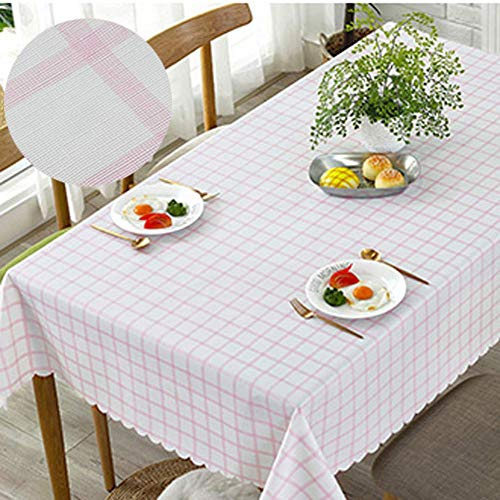 Unbekannt PVC Table Cover Waterproof Check, Rectangle Wipeable Table Cloth Protector Anti-scalding Oil-Proof Dining Coffee Table Home-pink 135x135cm(53x53inch) -